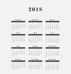 2018 year calendar vertical design vector