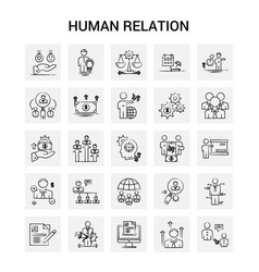 25 hand drawn human relation icon set gray vector