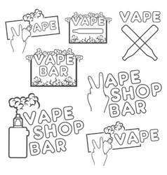 A set of electronic cigarette logos vector image