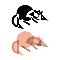 abstract geometrical style rat vector image