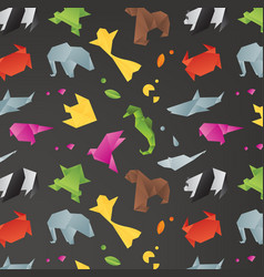 animals origami pattern black vector image