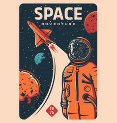 Astronaut and spaceship spaceman on rocket flight vector