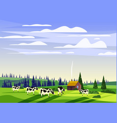 Beautiful countryside summer landscape herd of vector