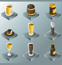 beer color gradient isometric icons vector image