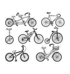 bicycle set sketch engraving vector image