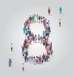 Big people crowd forming number eight 8 shape vector