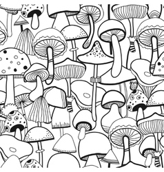 Black and white seamless pattern mushrooms for vector image