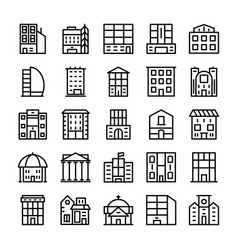 Buildings landmarks line icons 8 vector