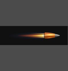 bullet in flame on black background vector image