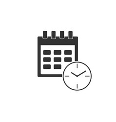calendar and clock icon isolatedschedule vector image
