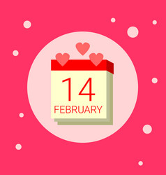 Calendar page with 14 february date icon on pink vector