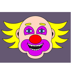 cheerful clown with yellow hair cartoon vector image