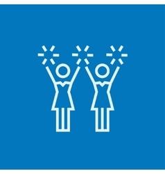 Cheerleaders line icon vector image vector image