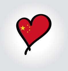 chinese flag heart-shaped hand drawn logo vector image