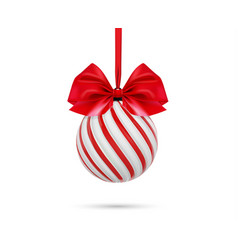 christmas ball in white and red color with vector image