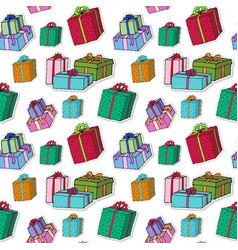 christmas gift boxes pattern celebration seamless vector image