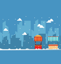 Collection of street stall with city background vector