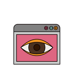 color sketch silhouette browser window with eye vector image