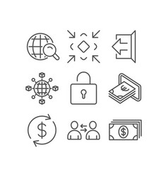 Communication minimize and cash icons lock sign vector