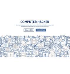 Computer hacker banner design vector
