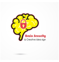 Creative brain security abstract logo vector