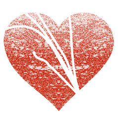 Damaged love heart grunge texture icon vector