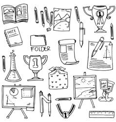 Doodle of school flat hand draw vector