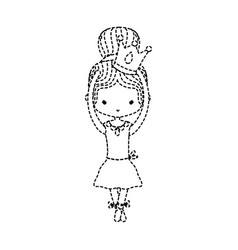 Dotted shape girl dancing ballet with crown design vector