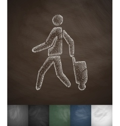 Emigrant with suitcase icon Hand drawn vector