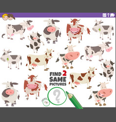 Find two same cows educational game for children vector