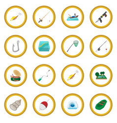 Fishing cartoon icon circle vector