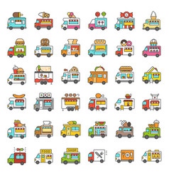 food truck icon set filled style editable stroke vector image