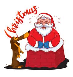 funny cartoon santa claus stuck in chimney vector image