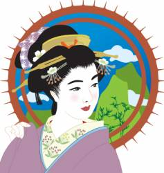 Geisha girl vector