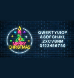 Glowing neon christmas sign with holly xmas vector