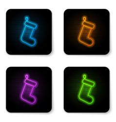 glowing neon christmas sock icon isolated on vector image