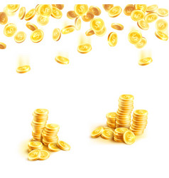 Golden rain of money and stack of gold coin poster vector