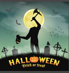 halloween silhouette headless monster in graveyard vector image