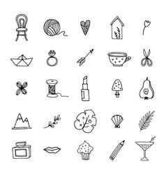 Hand drawn set feminine doodle line icons vector