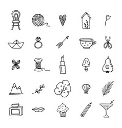 Hand drawn set of feminine doodle line icons vector