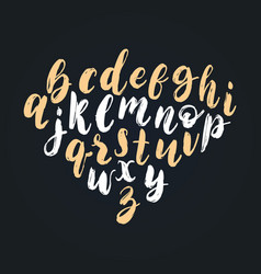 handwritten english alphabet calligraphy vector image