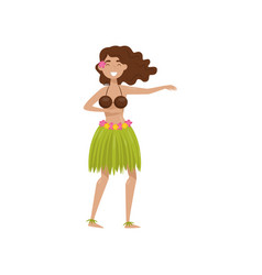 hawaiian girl in grass skirt dancing vector image