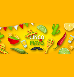 holiday celebration poster for cinco de mayo with vector image