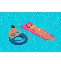 inflatable ring and mattress young man nad woman vector image