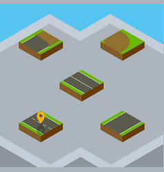 Isometric way set of unfinished navigation flat vector
