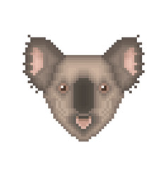 koala bear pixel art portrait cartoon animal vector image