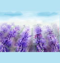 Lavender field watercolor provence vintage vector