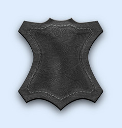 leather black realistic stitched label textured vector image