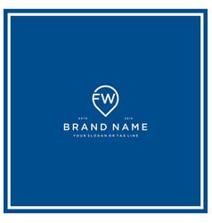 Letter fw pin logo design vector