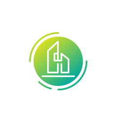 Letter h architect home construction creative vector